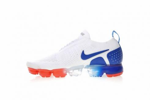 on sale a7d62 e277a Nike Air VaporMax Flyknit MOC 2 White Royal Blue Crimson AH7006-400