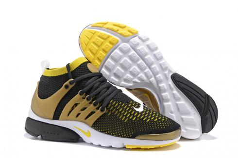 Nike Air Presto Ultra Flyknit Black Yellow Gold White Mens Sz 9.5 Running Shoes