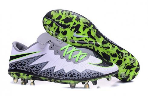Nike Hypervenom Phantom II FG ACC Soccers Footabll Shoes Low White Green Grey
