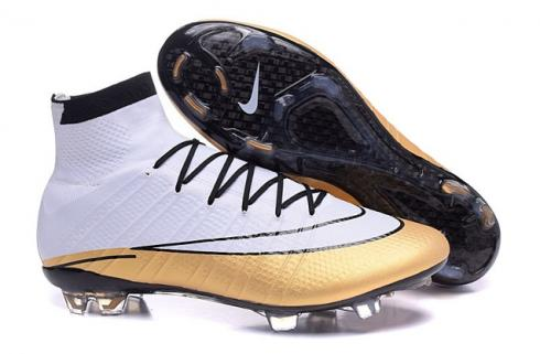 Nike Mercurial Superfly CR7 FG CR501 White Metallic Gold Black Soccers Football Boots 641858