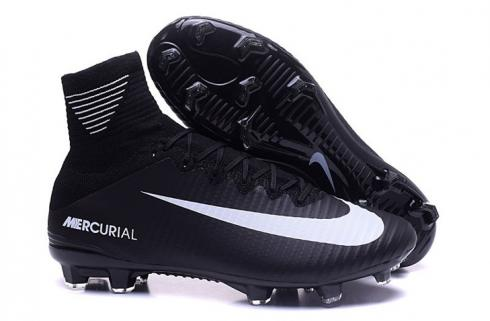 Nike Mercurial Superfly V FG ACC Soccers Shoes All Black White