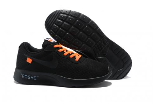 later wholesale official photos Off White Nike Tanjun Running Shoes All Black 812654