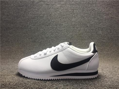 Nike CLASSIC CORTEZ Leather Casual Shoes White Black 808471 101