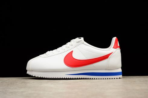 Nike CLASSIC CORTEZ Leather Casual Shoes White red 808471 103