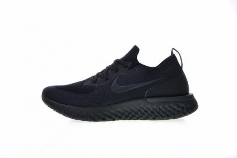 NIKE EPIC REACT FLYKNIT RUNNING SHOES TRIPLE BLACK AQ0067-003 $150