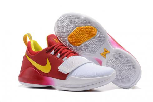 ee7cee5d24f7d5 Nike Zoom PG 1 Paul George Men Basketball Shoes Rose Red Black White ...