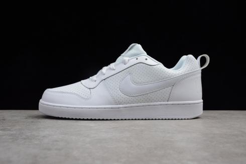 Nike Court Borough Low White Leather Basketball Shoes 838937 111