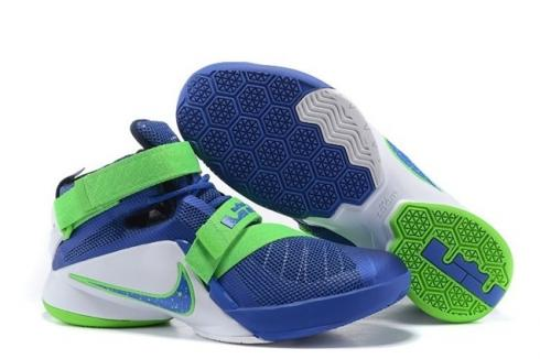 wholesale dealer 76dc1 17320 Nike Lebron Soldier IX Game Royal White Green Streak Basketball Shoes  749417-441