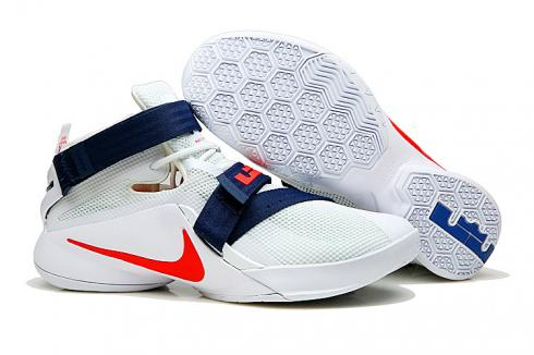 buy online 15585 f71a0 Nike Zoom Soldier 9 IX White Red Blue USA Teams Men Basketball Sneakers  Shoes 749417