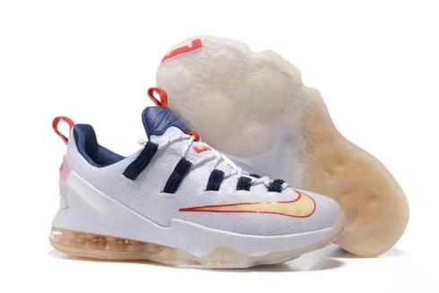 info for 7e9ac a59dc Nike Lebron XIII Low EP James 13 Men Basketball Shoes White Blue Red Beige  831926