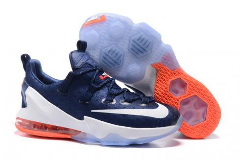 navy blue and white lebrons