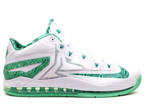 Max Lebron 11 Low Easter Green White