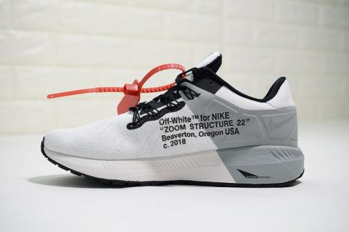 Off White x Nike Air Zoom Structure 22 White Black Gray Orange Shoes AA1636 800