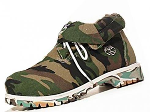 Army Green Timberland Roll Top Boots