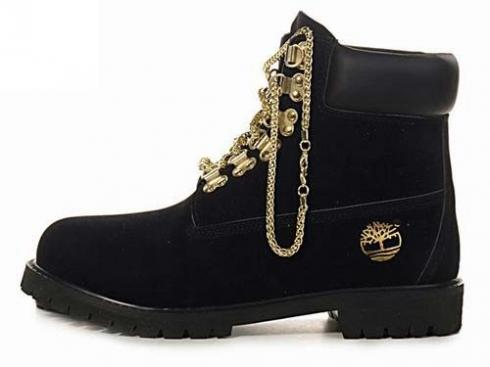 Black Timberland Gold Chain Boots