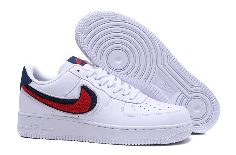 best service 0c12a 2e39b Prev Nike Air Force 1 07 Lv8 Chenille Swoosh Blue White Void University Red  ...
