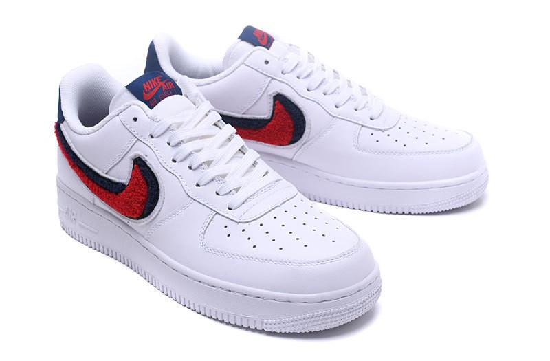 newest 4a33a 063f5 Nike Air Force 1 07 Lv8 Chenille Swoosh Blue White Void University Red  823511-106 ...