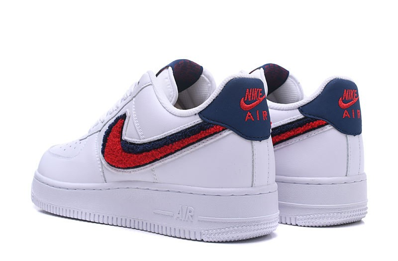 Nike Air Force 1 07 Lv8 Chenille Swoosh Blue White Void University Red 823511 106