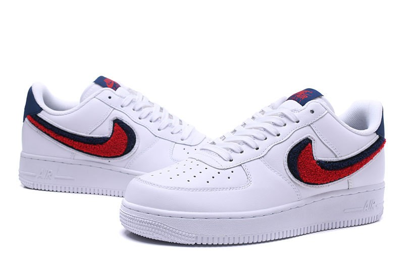 buy online d332c 1f1f9 ... Nike Air Force 1 07 Lv8 Chenille Swoosh Blue White Void University Red  823511-106 ...