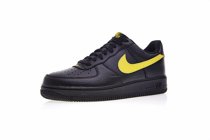 Nike Air Force 1 Low 07 Lv8 Black Amarillo Yellow Swoosh Aa4083 002 Sepsport