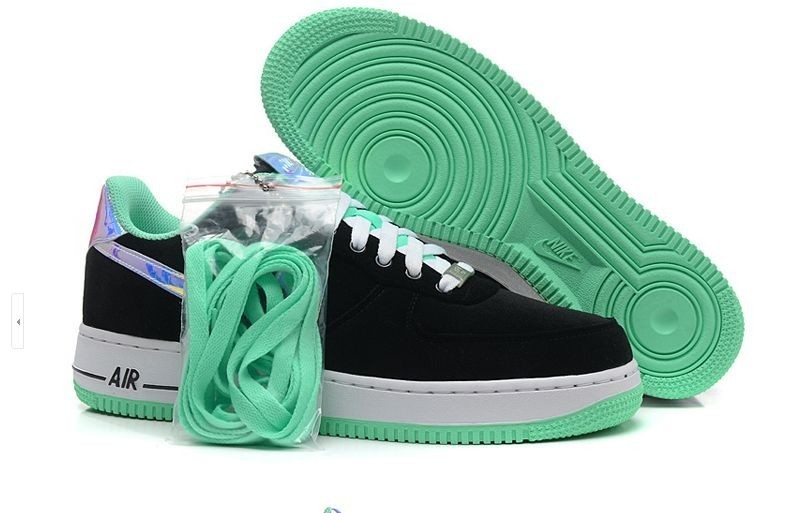 sports shoes 74846 b9926 Prev Nike Air Force 1 Low Black Shiny Silver Green ...