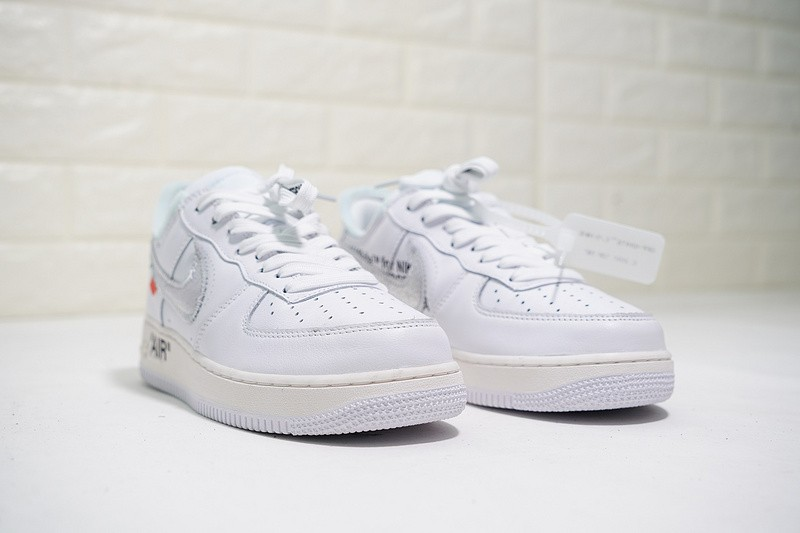 Off White x Nike Air Force 1 07 White Metallic Silver AV5210 100