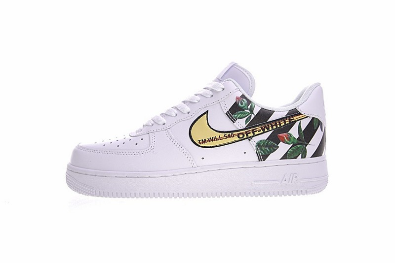 Off White x Nike Air Force 1 Low Rose Flower White Black