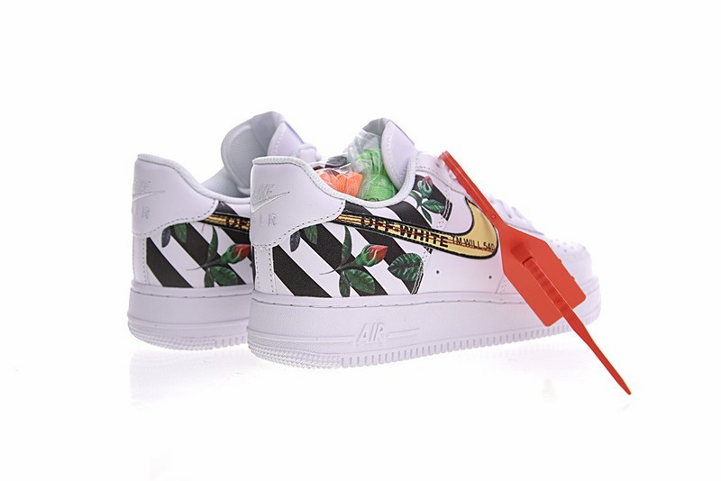 Off White X Nike Air Force 1 Low Rose Flower White Black Sepsport
