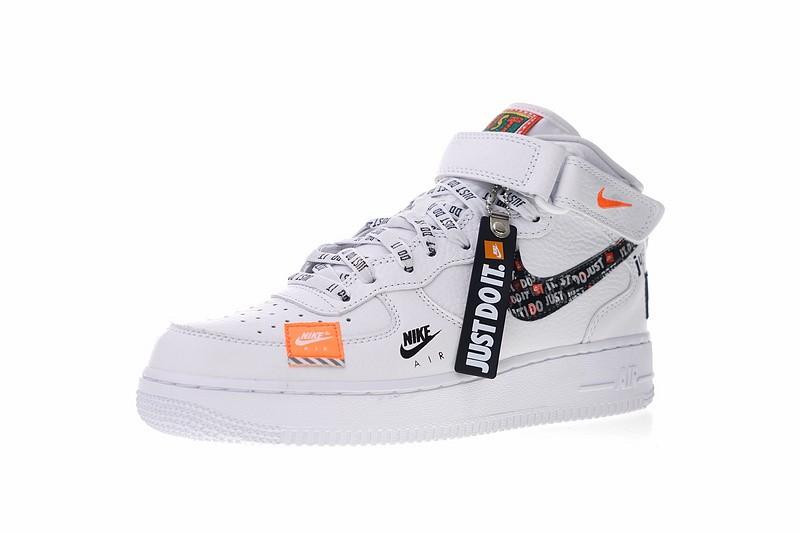 Mens Womens Nike Air Force 1 Mid Just do it White Orange Black AQ8650 100 Running Shoes aq8650 100