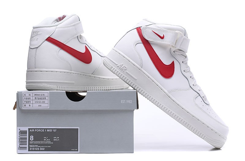 Nike Air Force 1 Mid Sail University Red White 315123 126
