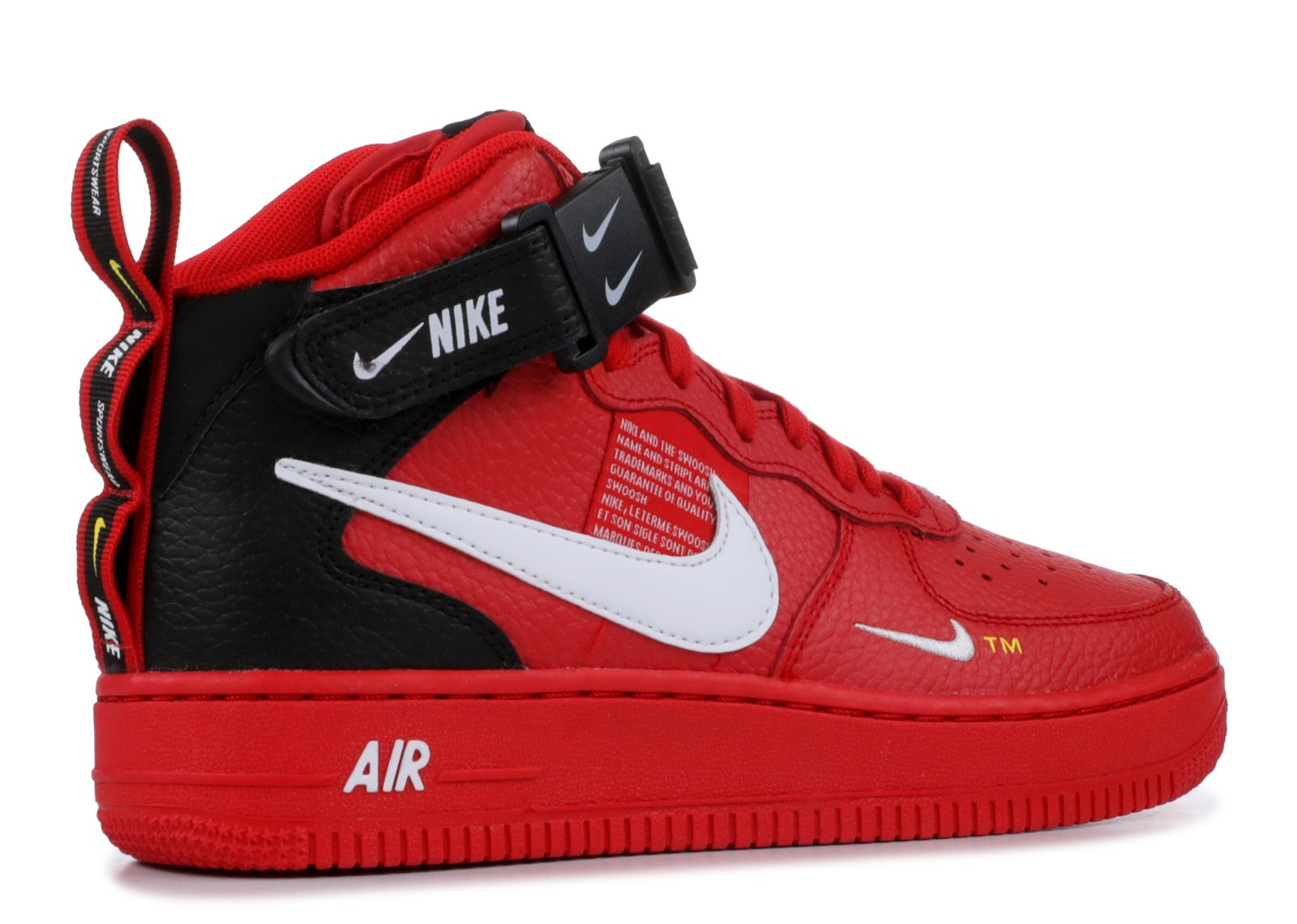 nike air force 1 mid red black