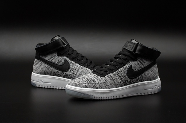 ac1558aa1bb8 ... Nike Air Force One AF1 Ultra Flyknit Mid QS Bright Grey Black Men  Lifestyle Shoes 817420 ...