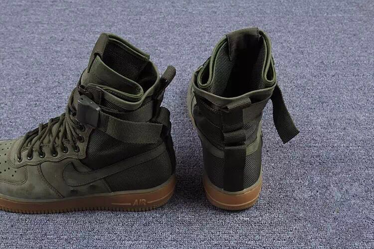olive green high top air force ones