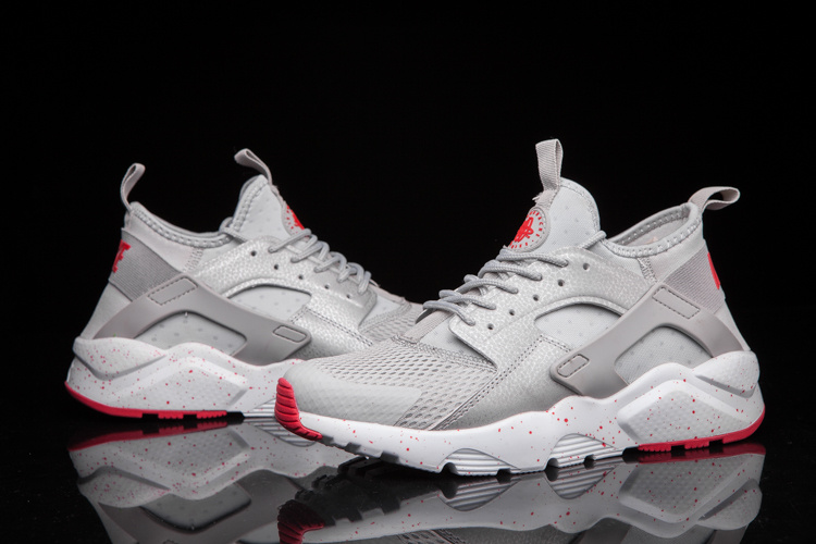 red and gray huaraches