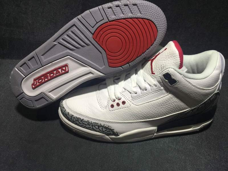 7a63714a4b6 Prev Nike Air Jordan III 3 White Crack Gray Red Men Basketball Shoes  Leather. Zoom