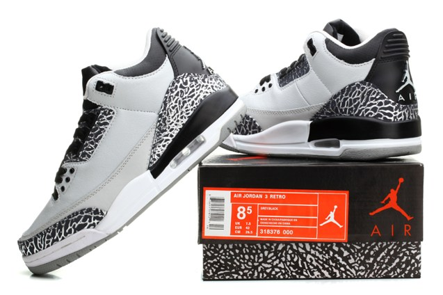 Nike Air Jordan Iii Retro 3 Shoes Unisex White Black Grey 136064 Sepsport