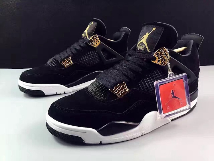 info for 07d13 10b91 Nike Air Jordan 4 IV Royalty AJ4 Retro Men Shoes Black Gold 308497-032