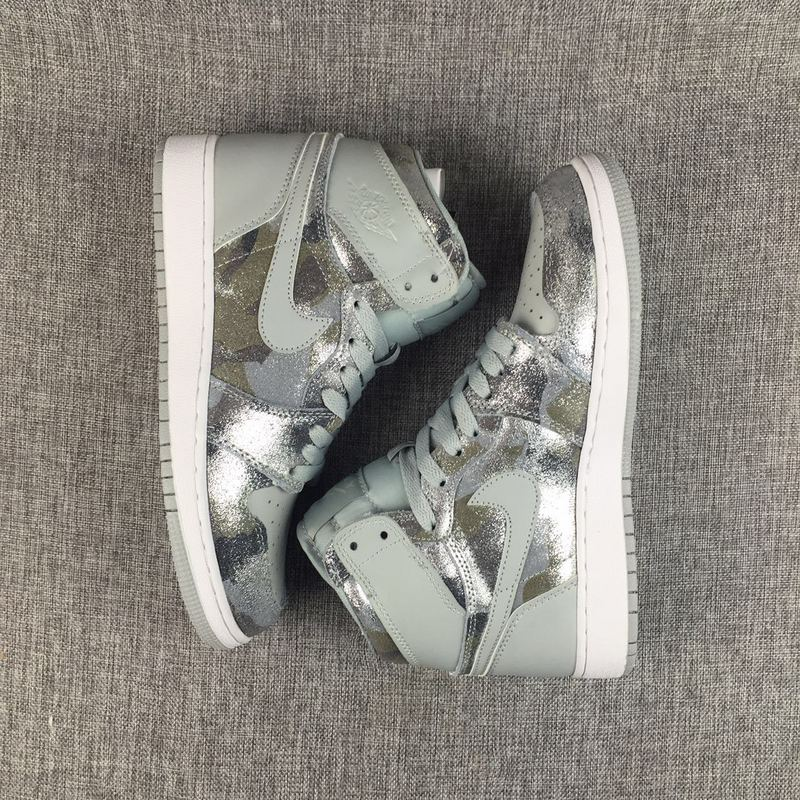 NEW DS 2017 Nike Air Jordan I 1 Retro Grey Camouflage Silver Women Shoes
