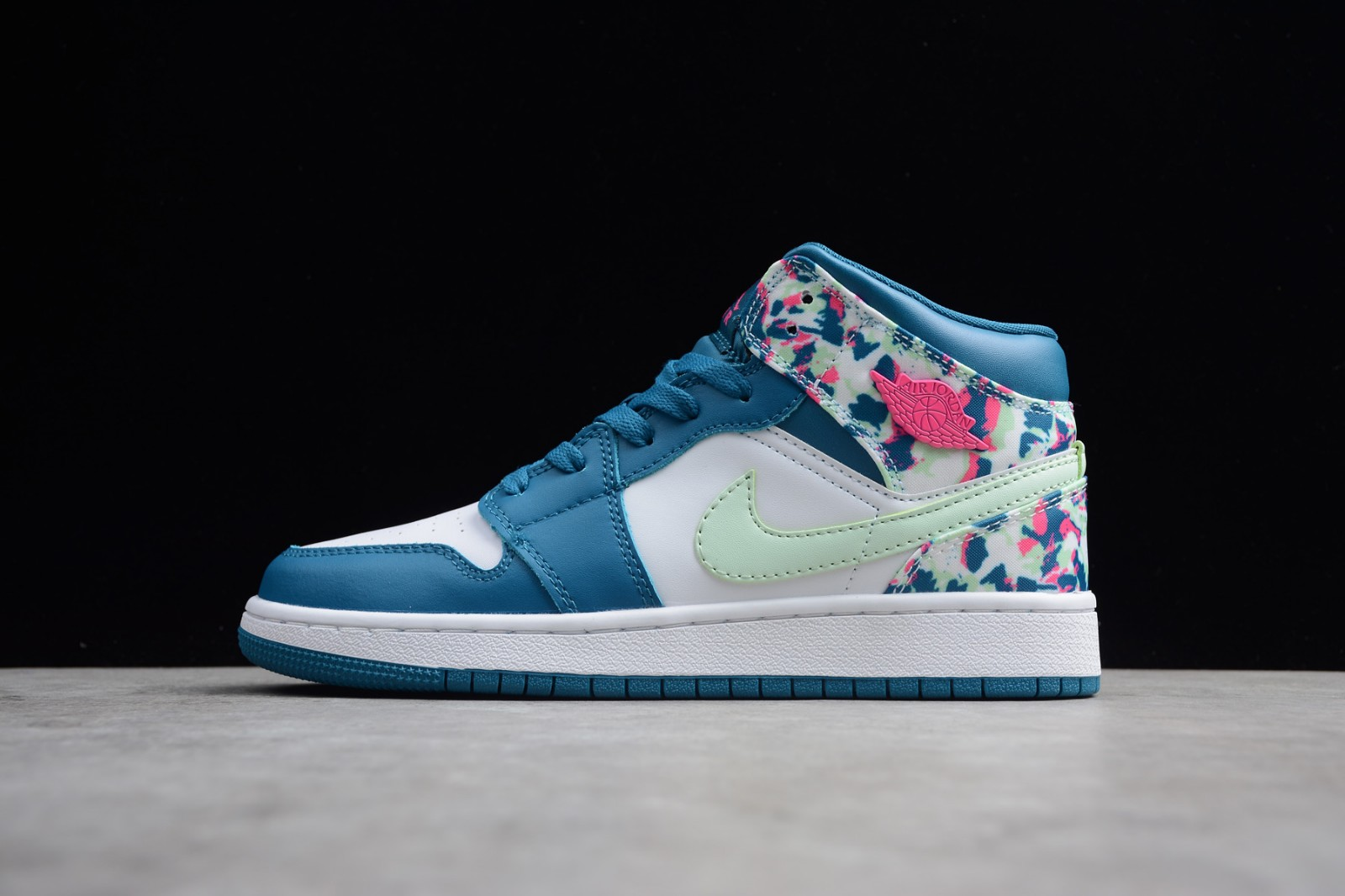 d144053af958 Nike Air Jordan 1 Mid GS White Blue Pink Green 555112-300 - Sepsport