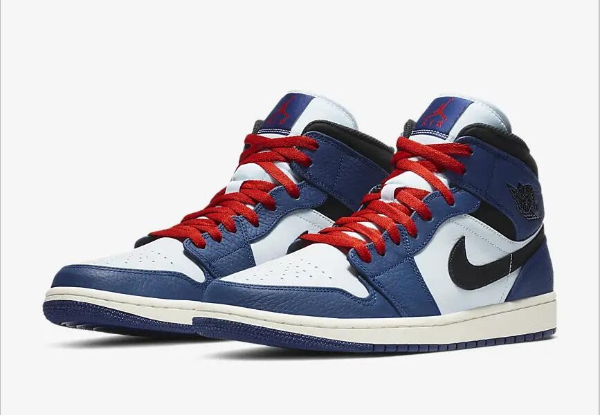 Nike Air Jordan 1 Mid SE Deep Royal Blue Half Blue University Red Black  852542-400