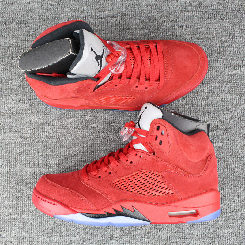 5900d972271b39 Nike Air Jordan V 5 Retro Red Suede Blood Red Basketball Shoes ...