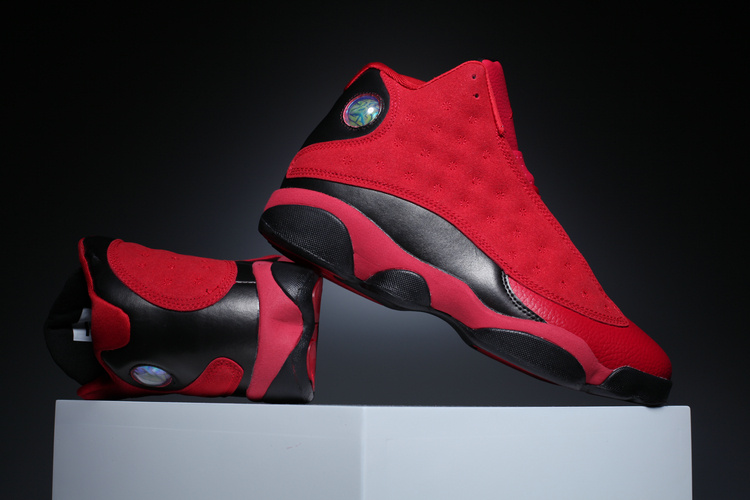4b3f87c90c8 Nike Air Jordan 13 Retro Black Red Men Basketball Shoes 310004 ...