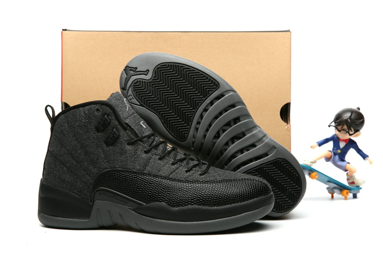 00b18c17843753 Prev Nike Air Jordan 12 XII Retro Black Grey Wool Men Basketball Shoes  852627-003. Zoom