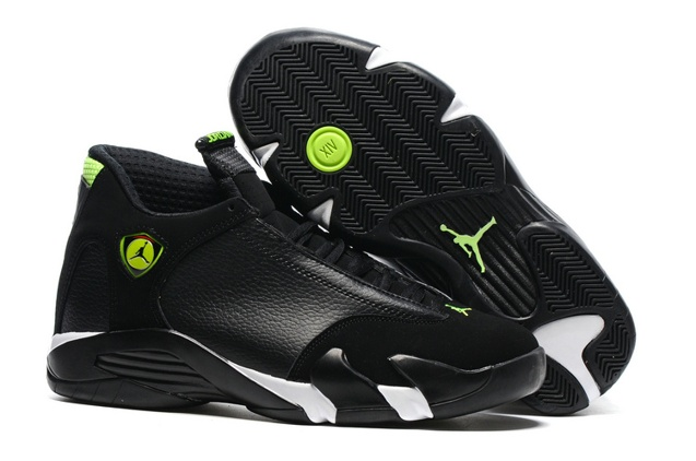 62b3aa9dfc3 Nike Air Jordan 14 Retro XIV Men Shoes Black Mint Green Toe 487471 ...
