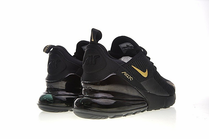 Nike Air Max 270 Black Gold Athletic Shoes AH8050 007