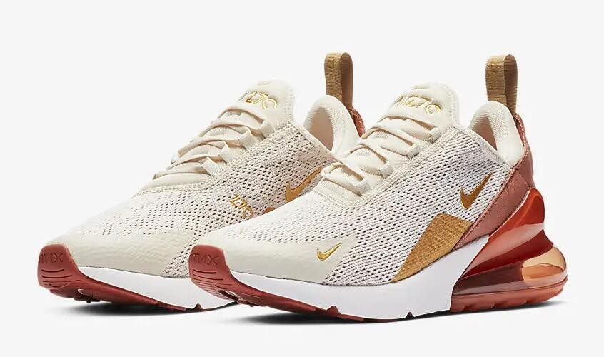 Nike Air Max 270 Light Cream Terra Blush Dusty Peach Metallic Gold AH6789 203