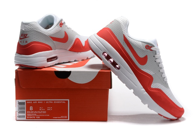 Nike Air Max 1 Ultra Essential Grey Red White Men Running Shoes OG 819476 006