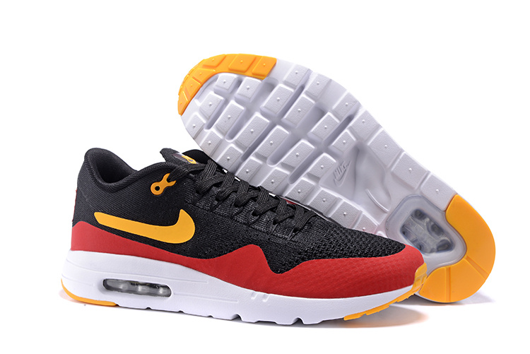 separation shoes 12239 e8ca8 Prev Nike Air Max 1 Ultra Flyknit Men Running Shoes Black Red Orange  843384-013. Zoom
