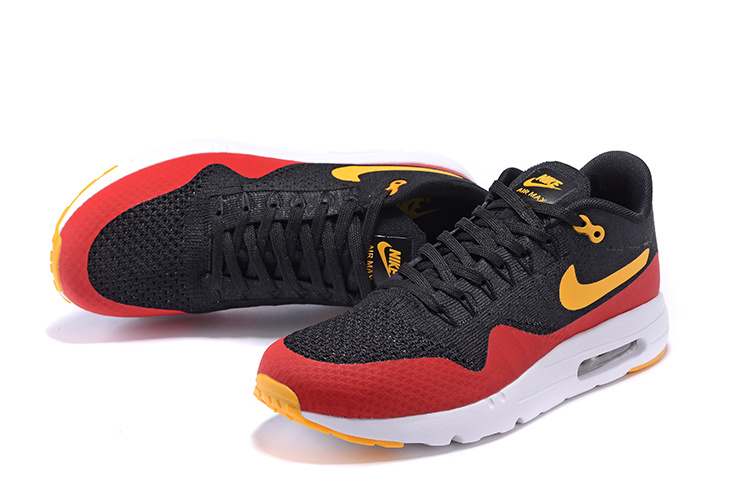 brand new 9fc07 f33fe ... Nike Air Max 1 Ultra Flyknit Men Running Shoes Black Red Orange  843384-013 ...