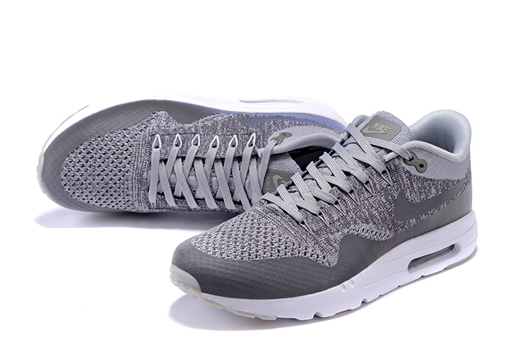 Nike Air Max 1 Ultra Flyknit Men Shoes Wolf Grey Dark Grey White 843384 001